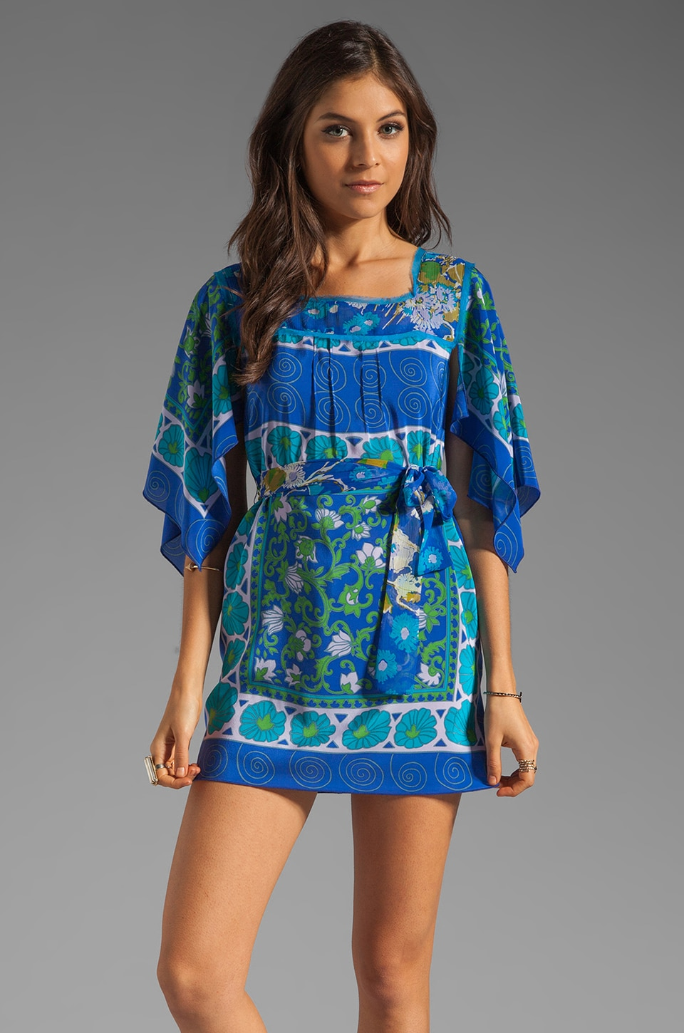 Anna Sui Mosaic Panel Print Dress in Royal Multi