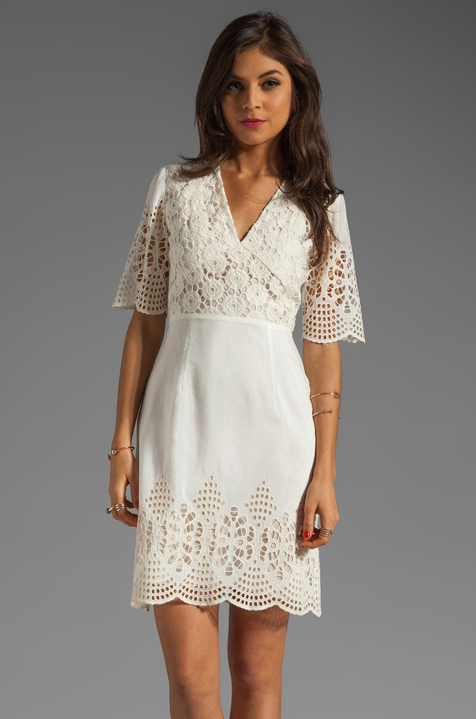 Anna Sui Bohemian Eyelet Embroidered Short Sleeve Dress in Cream