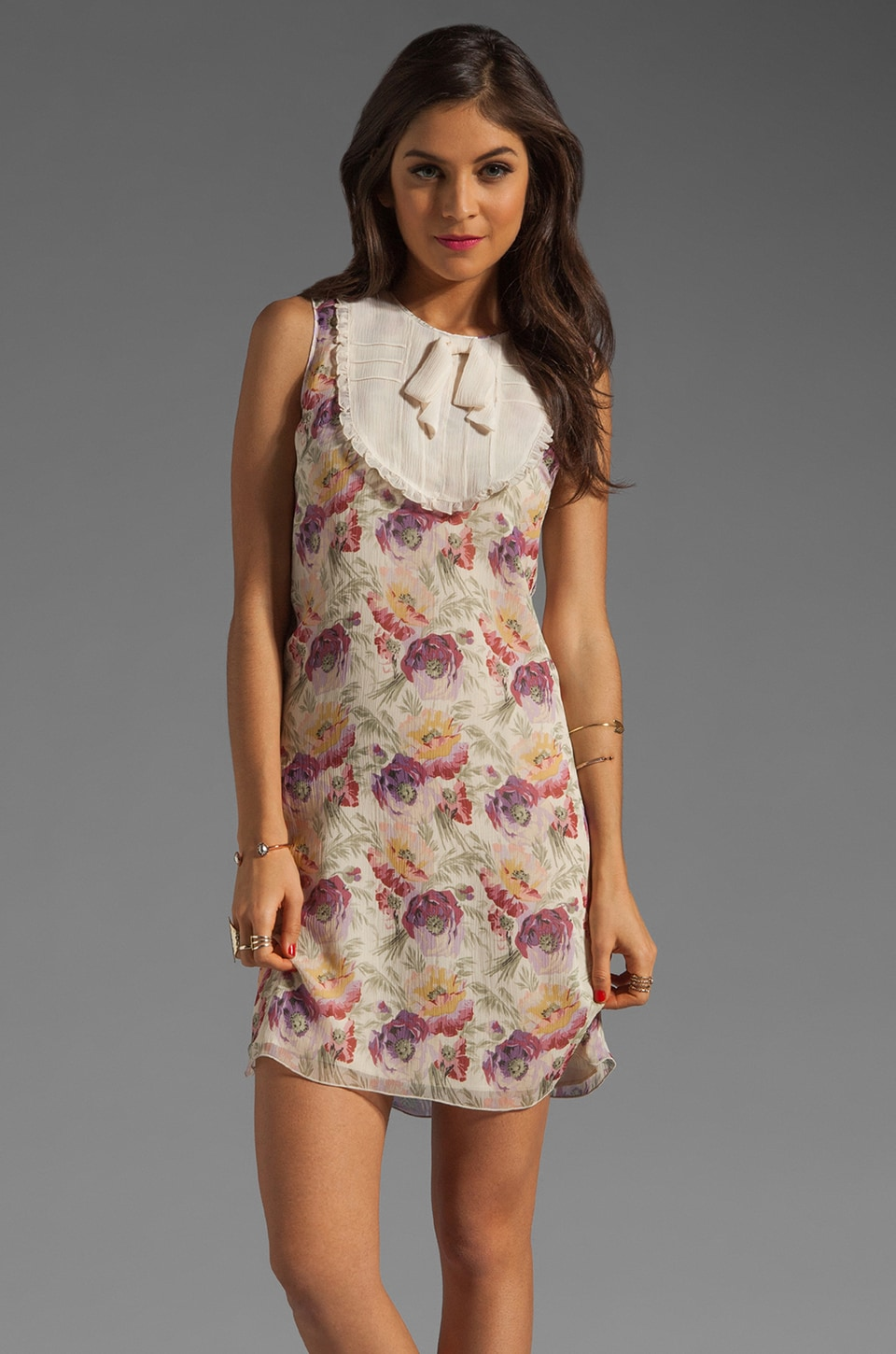 Anna Sui Poppy Print Dress in Lavender Multi
