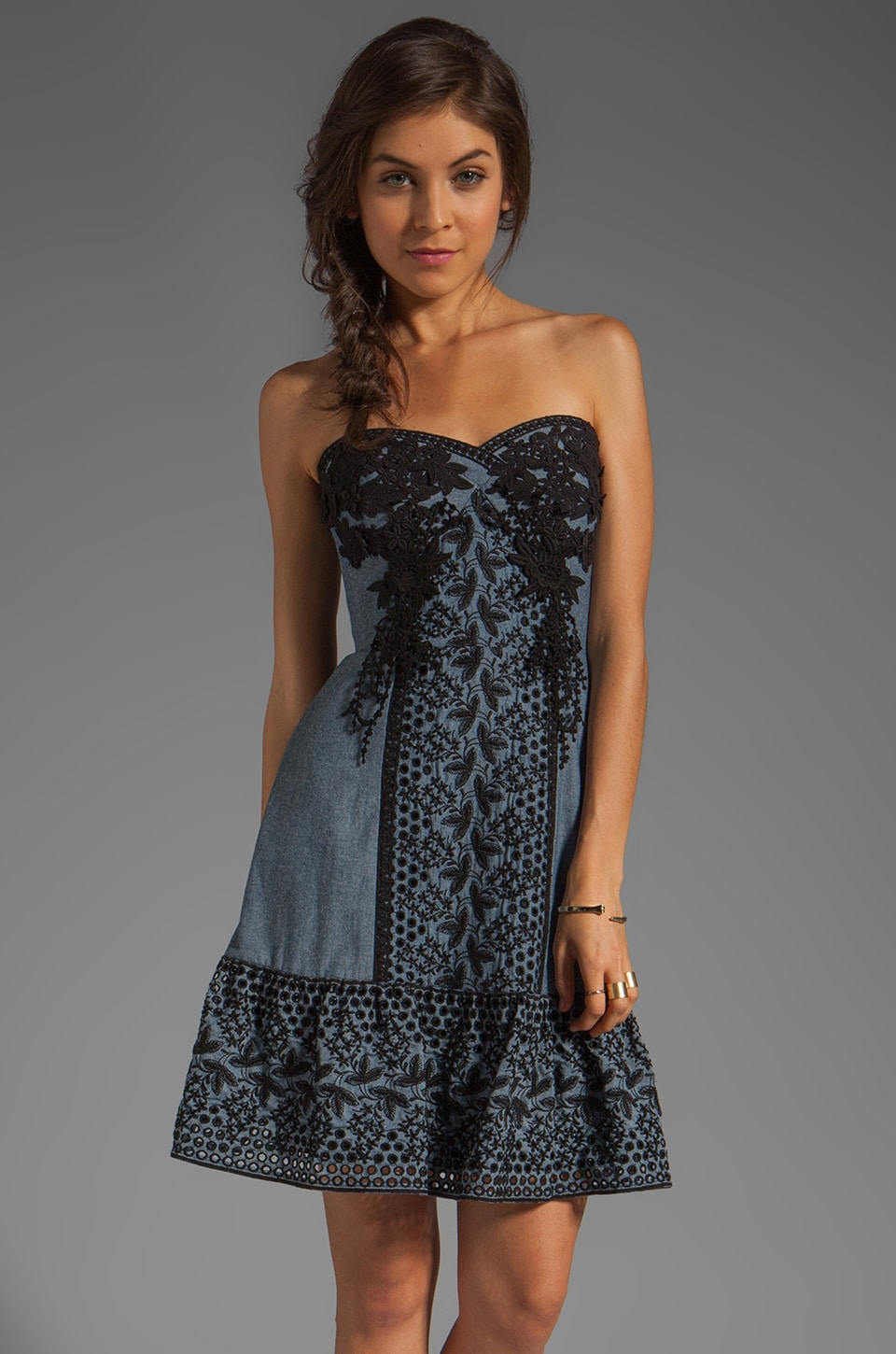 Anna Sui Lilac Embroidered Eyelet and Lace Strapless Dress in Indigo Multi