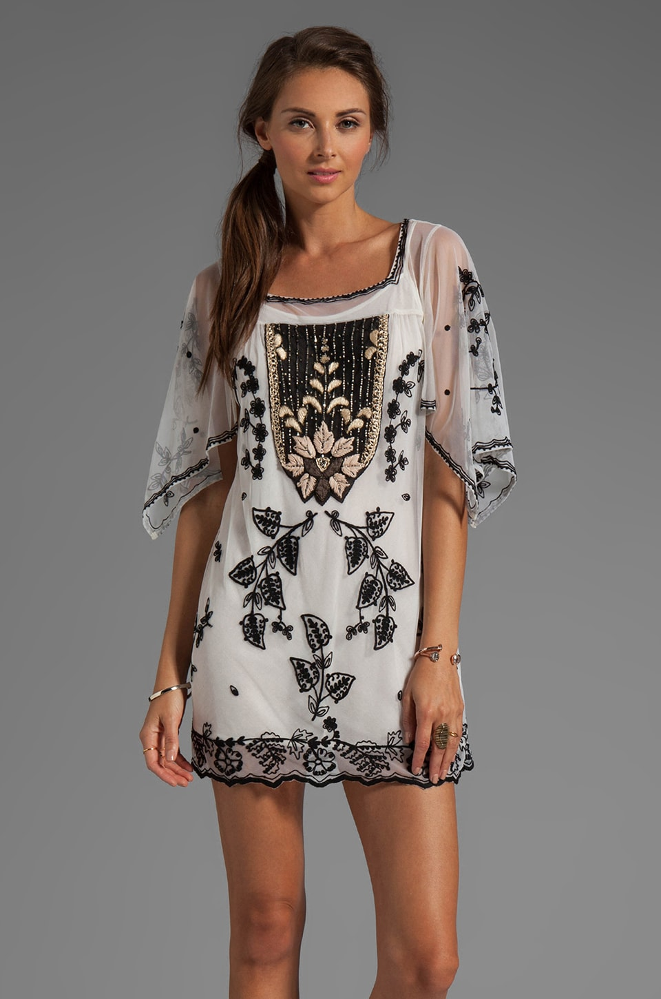 Anna Sui Victorian Embroidery on Tulle Dress in Cream Multi