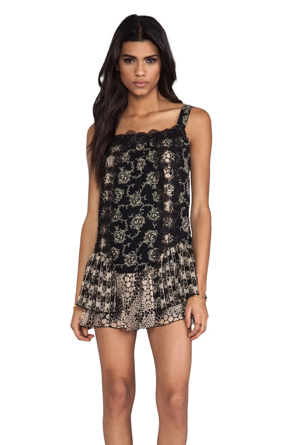 Anna Sui Madeleine Mixed Prints Lace Dress in Black Multi
