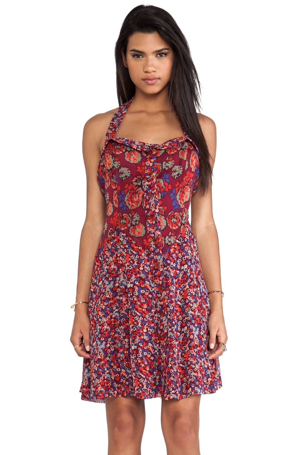 Anna Sui Geranium and Camouflage Floral Print Crinkle Chiffon Dress in Poppy Multi