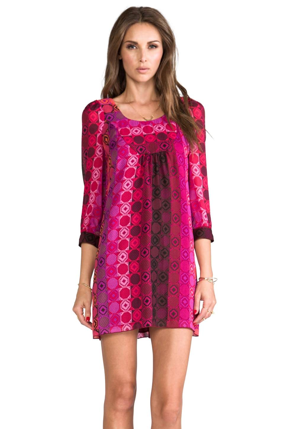 Anna Sui Geometric Tonal Print Mesh Crepe Dress in Fuchsia Multi