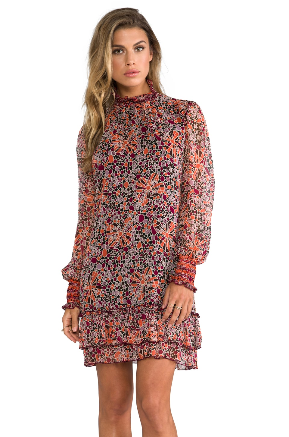 Anna Sui Pop Squares Printe Mesh and Mosaic Flora Print Crinkle Chiffon Long Sleeve Dress in Merlot