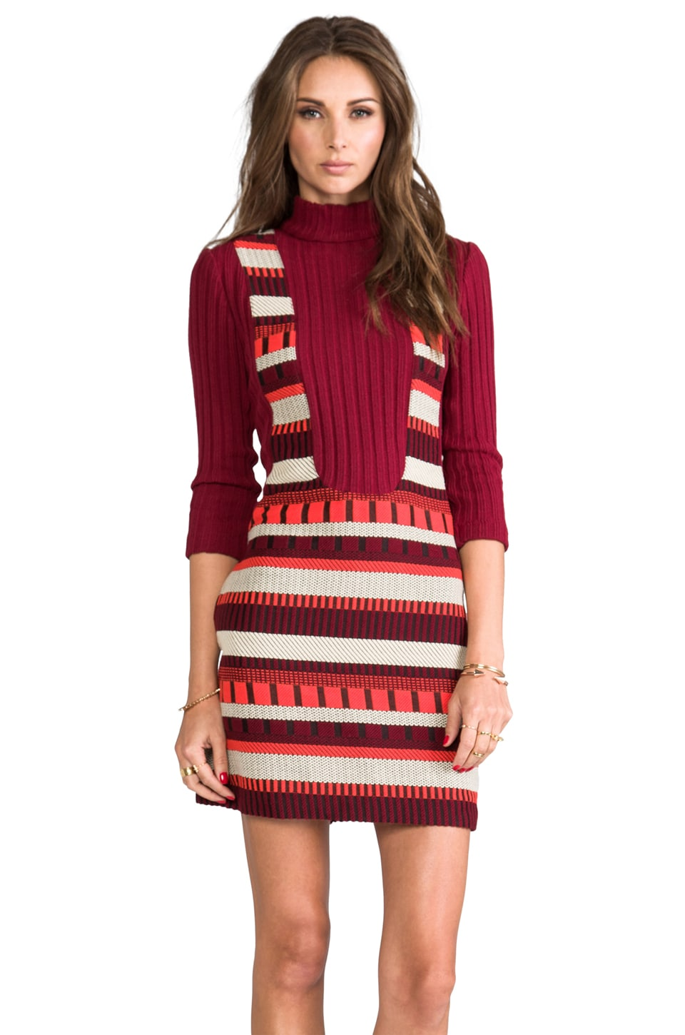 Anna Sui RUNWAY Ladder Stripe Woven Jacquard Dress in Merlot Multi