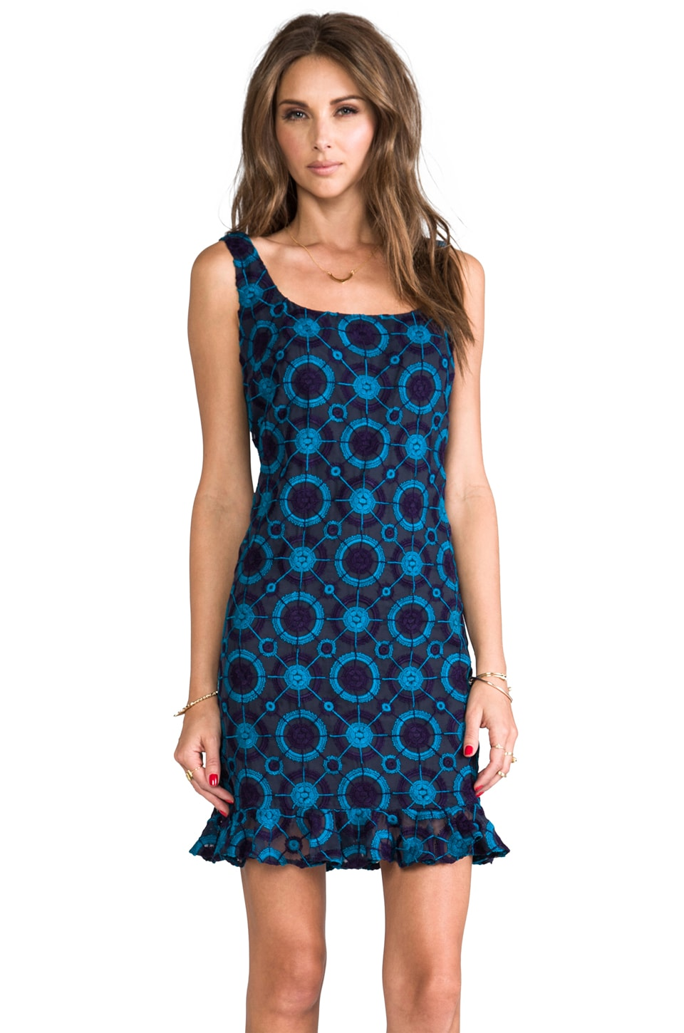 Anna Sui Circle Embroidered Tank Dress in Midnight Multi