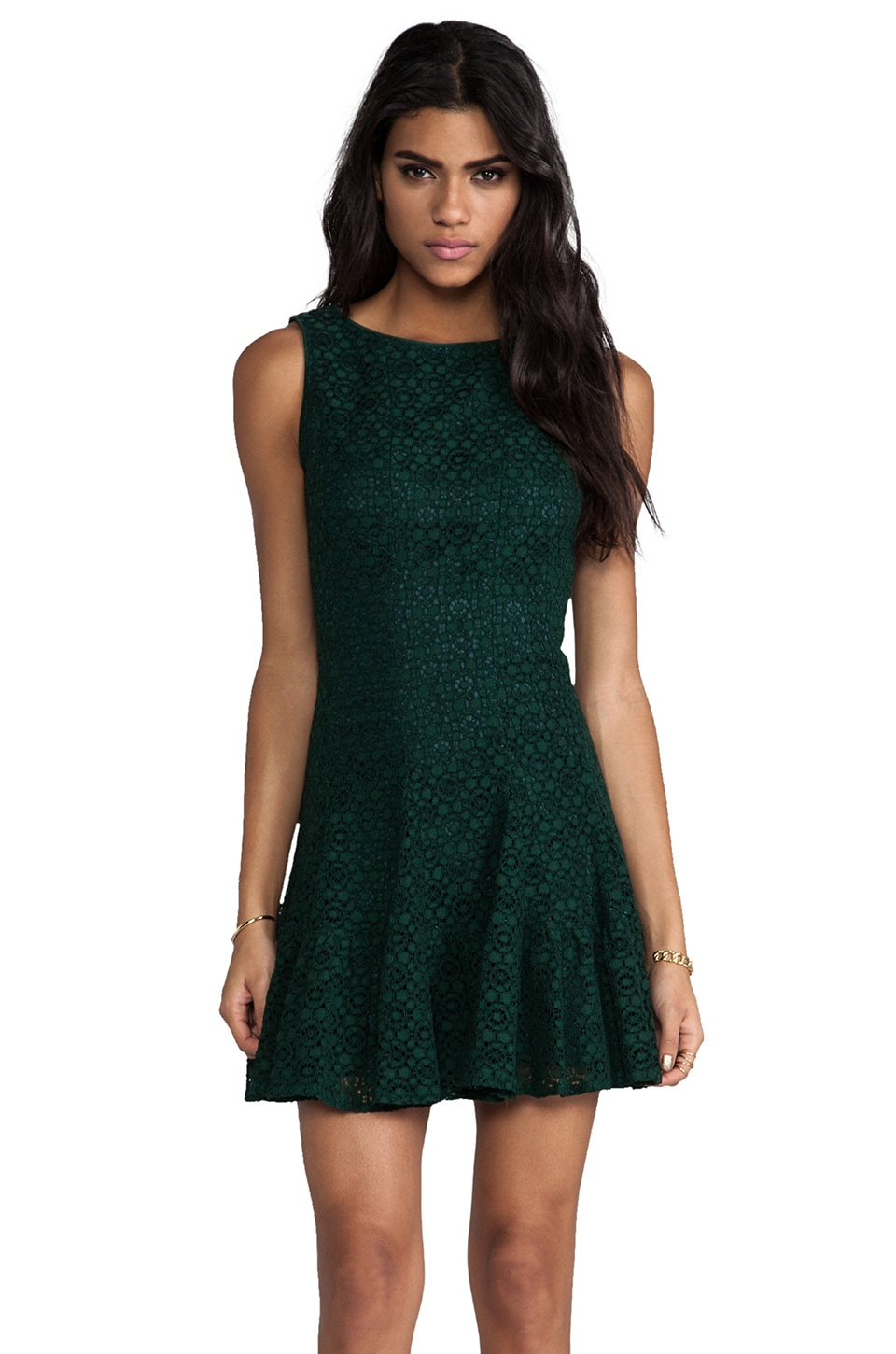 Anna Sui Re-Embroidered Lace Dress en Forest Green