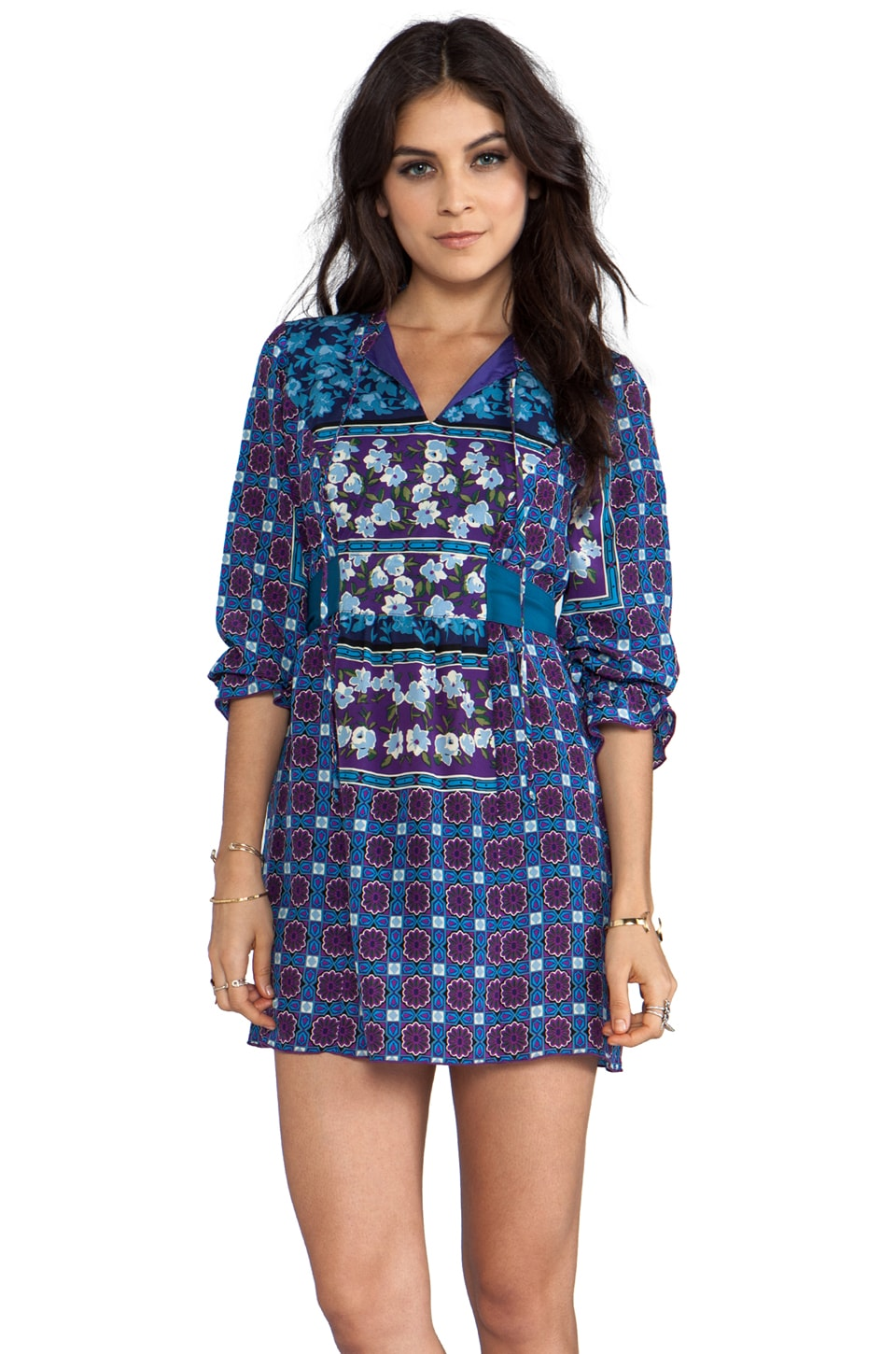 Anna Sui Scherazade Panel Print Crepe De Chine Dress in Slate Blue Multi