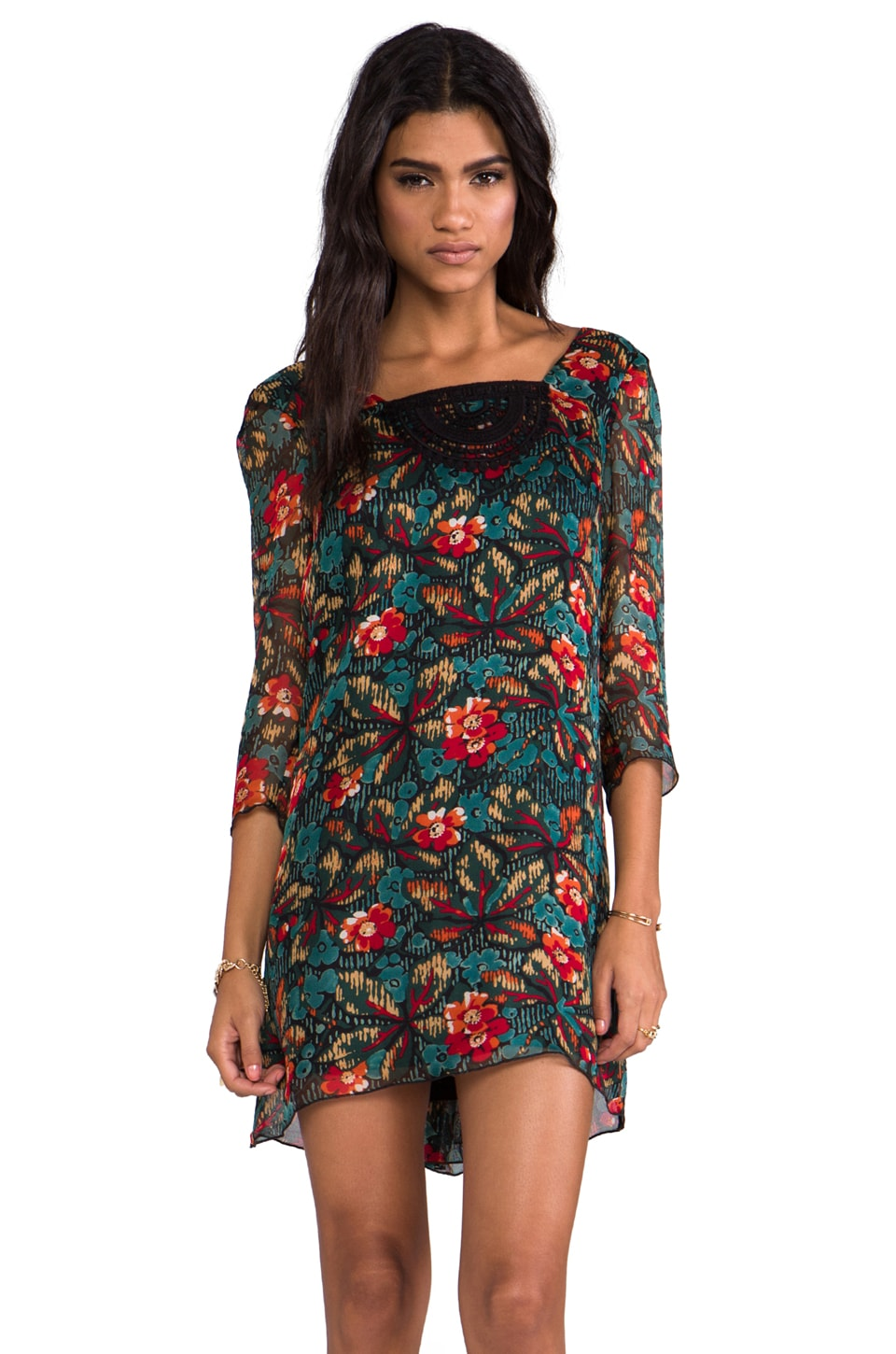 Anna Sui Fauve Floral Print Gauze Dress in Forest Green Multi