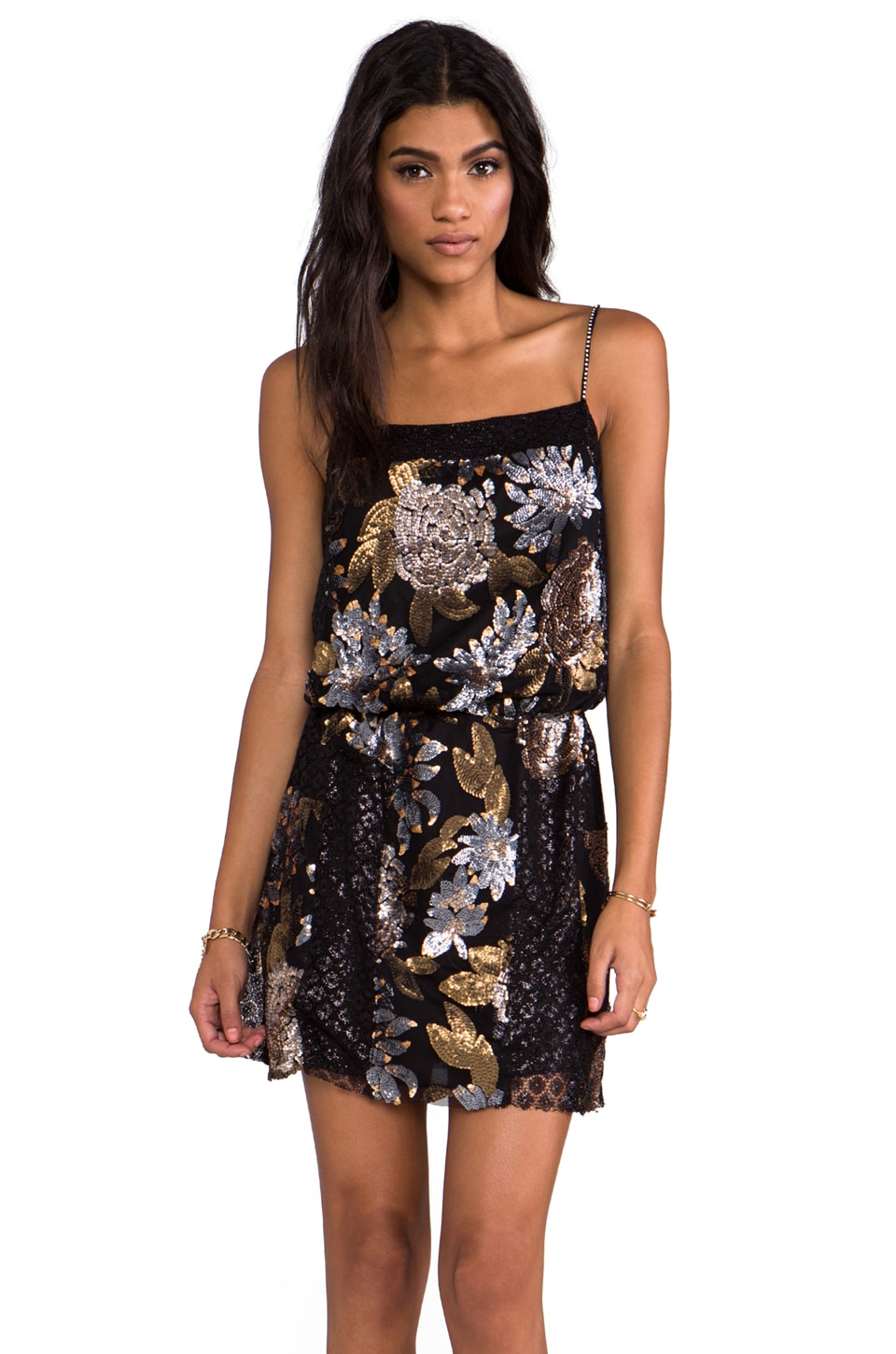 Anna Sui RUNWAY Nuits De Paris Sequin Mesh and Lace Dress in Black Multi