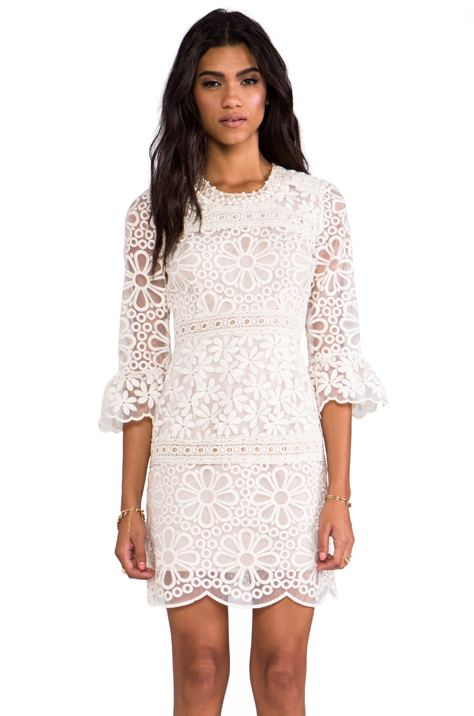 Anna Sui RUNWAY Nouvelle Vague Daisy Embroidered Organza Dress in Cream