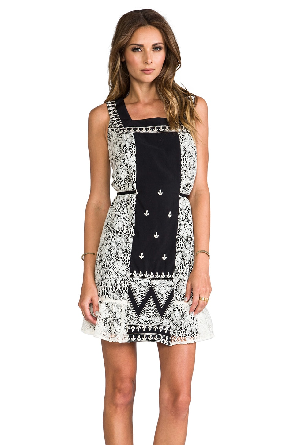 Anna Sui Zig Zag Applique Dress in Black