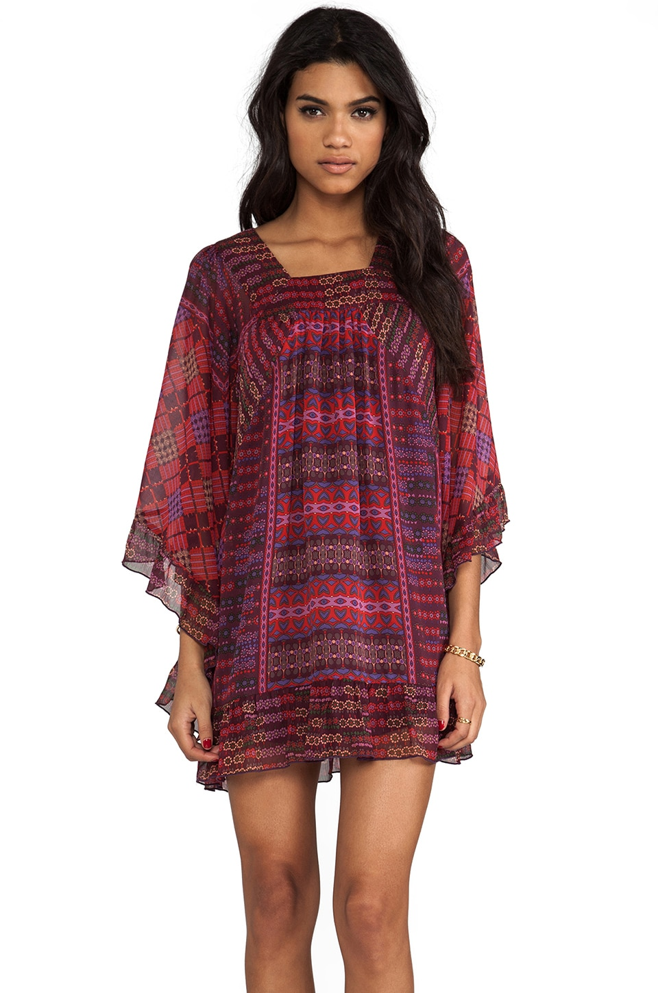 Anna Sui Patchwork Print Dress in Oxblood