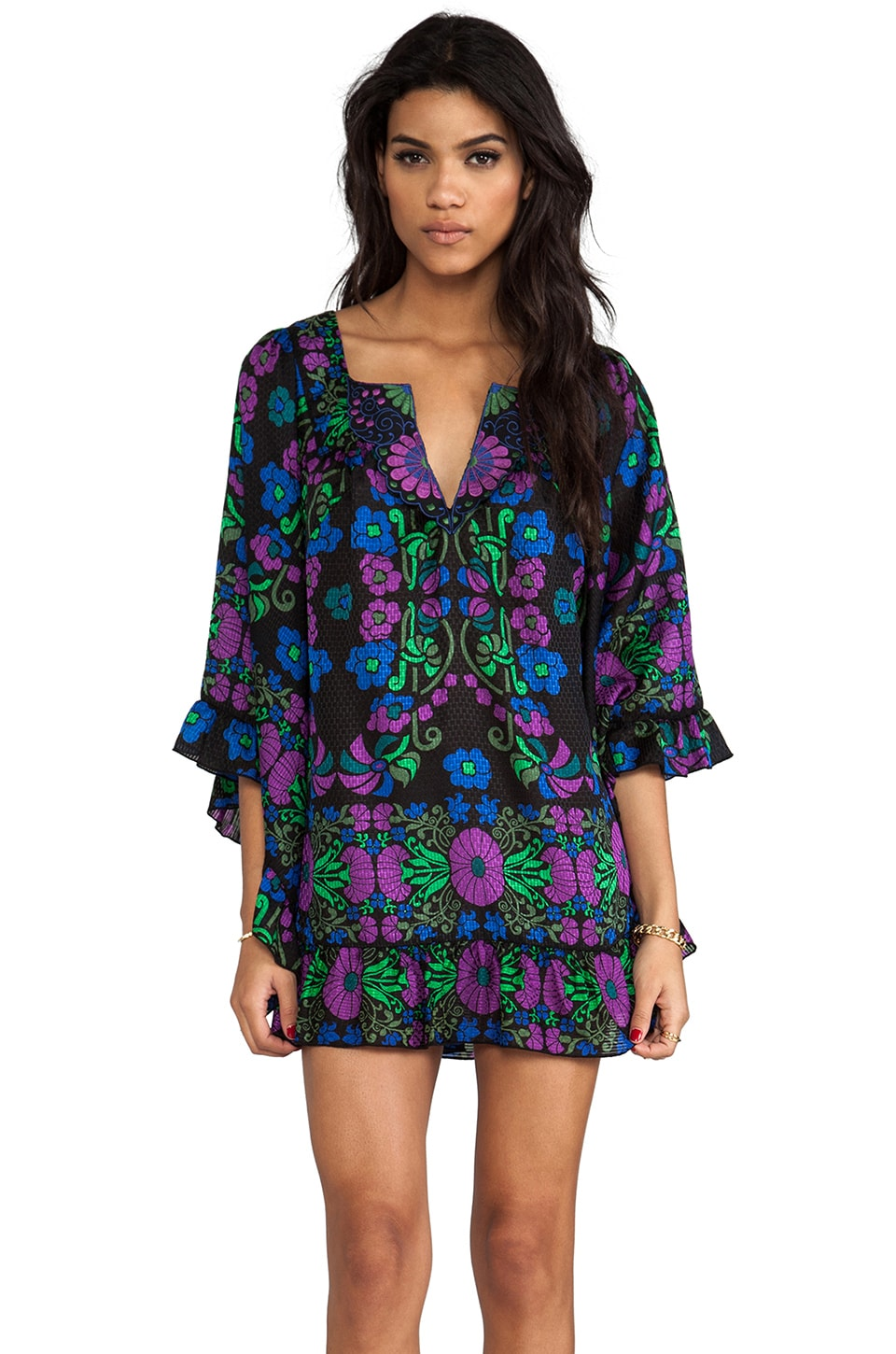 Anna Sui Morning Glory Mini Dress in Black