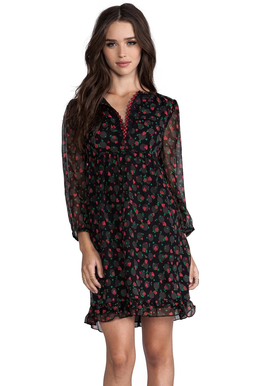Anna Sui Hearts & Rosebuds Print Dress in True Red