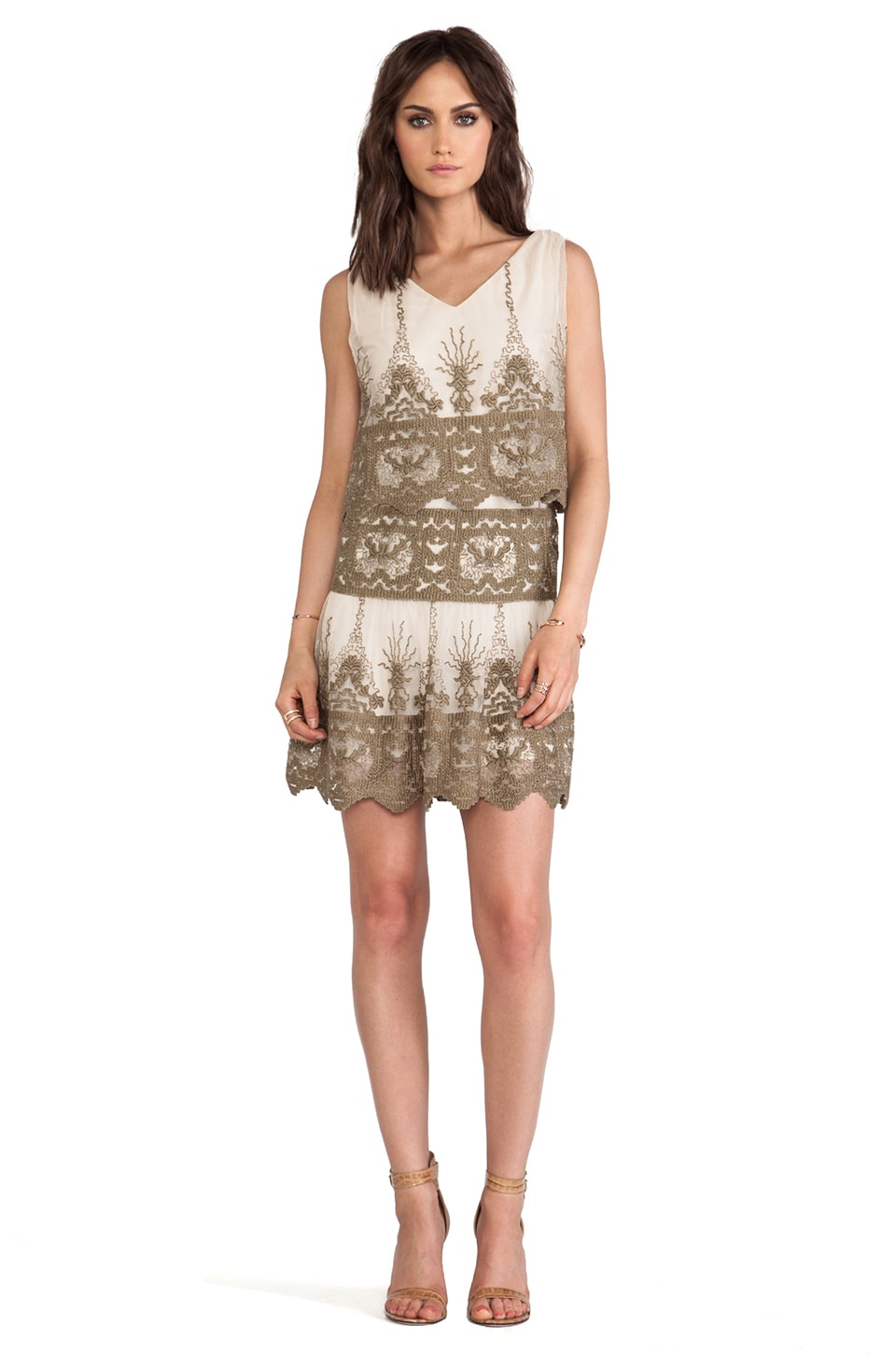 Anna Sui Secret Garden Embroidery Dress in Sand Multi