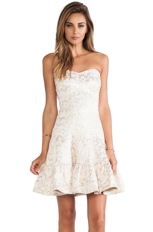 Anna Sui Metallic Daisy Jacquard Strapless Dress in Cream Multi