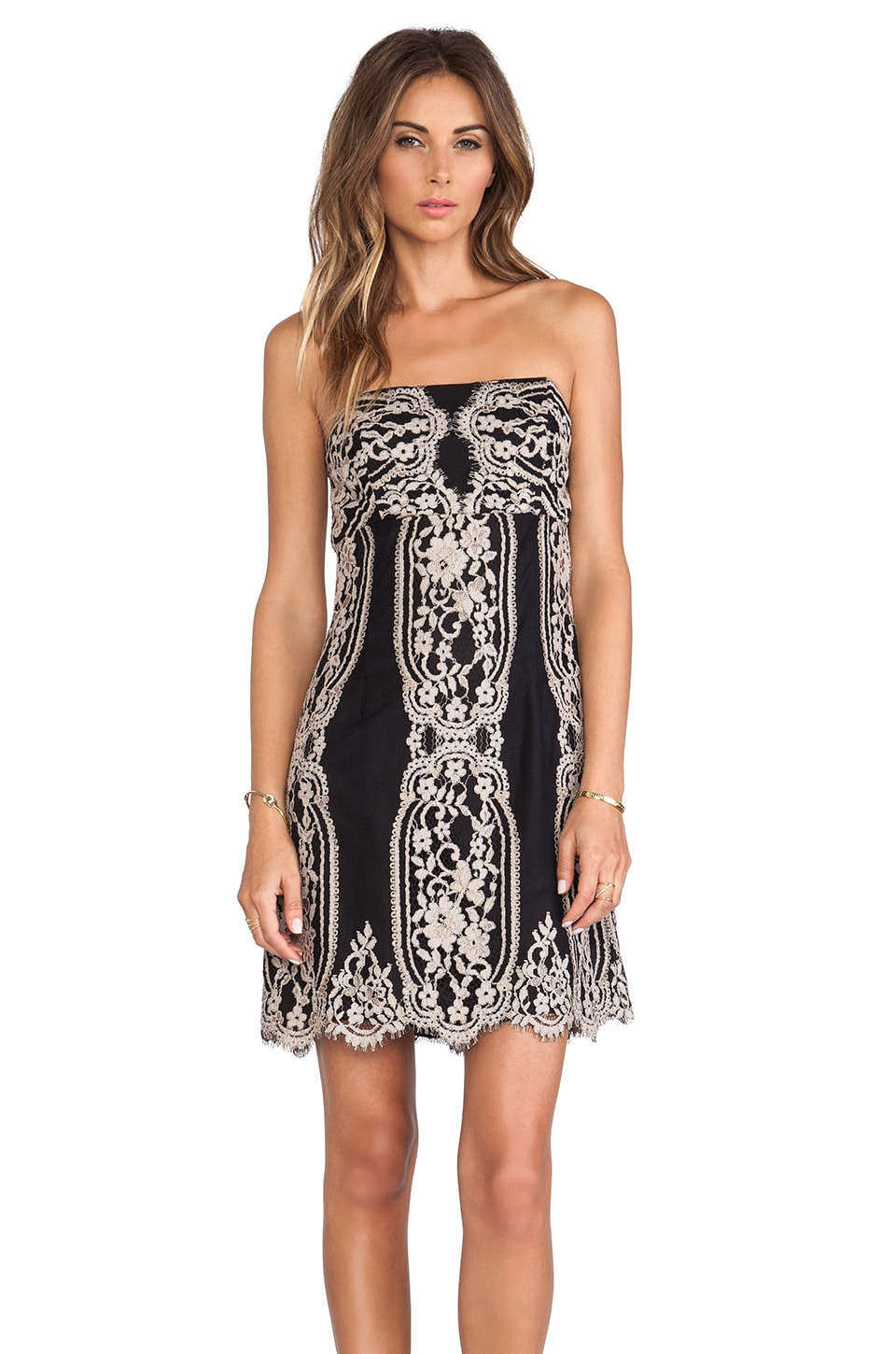 Anna Sui Two Tone Eyelash Lace Strapless Dress in Black