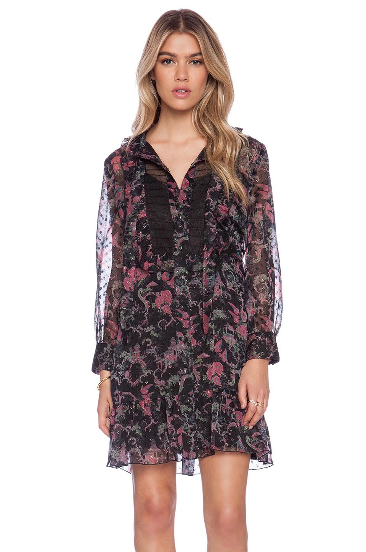 Anna Sui Rococco Pavillions Print Shirt Dress in Black Multi