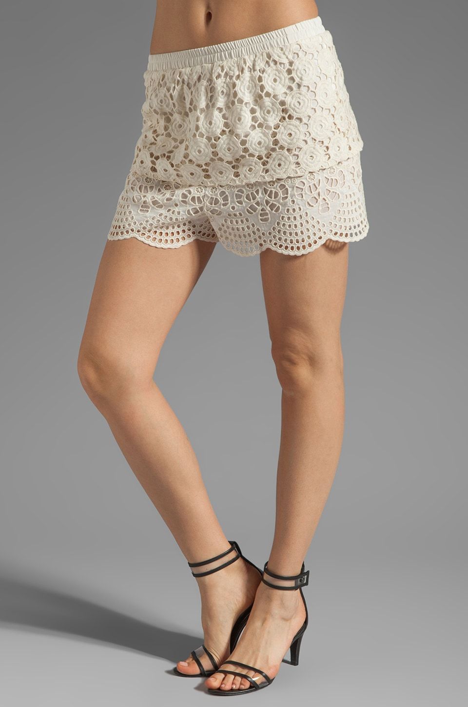 Anna Sui Bohemian Eyelet Embroidered Short in Cream