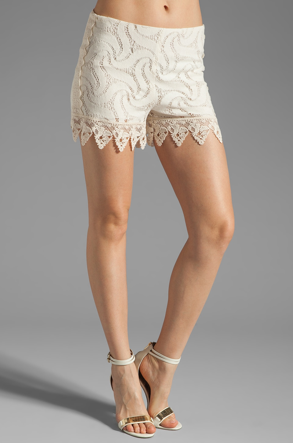 Anna Sui Pinwheel Mixed Lace Short in Cream
