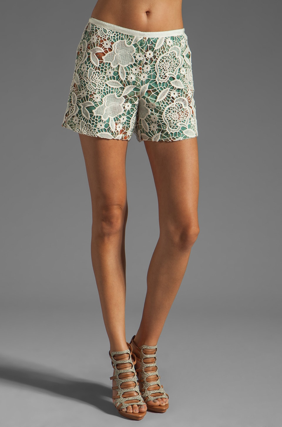 Anna Sui Filigree Print Crinkle Chiffon and Lace Shorts in Jade Multi