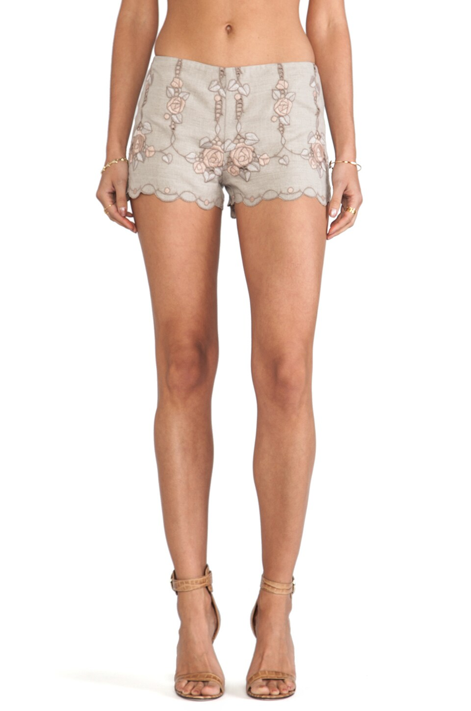 Anna Sui Rose Border Embroidered Shorts in Linen