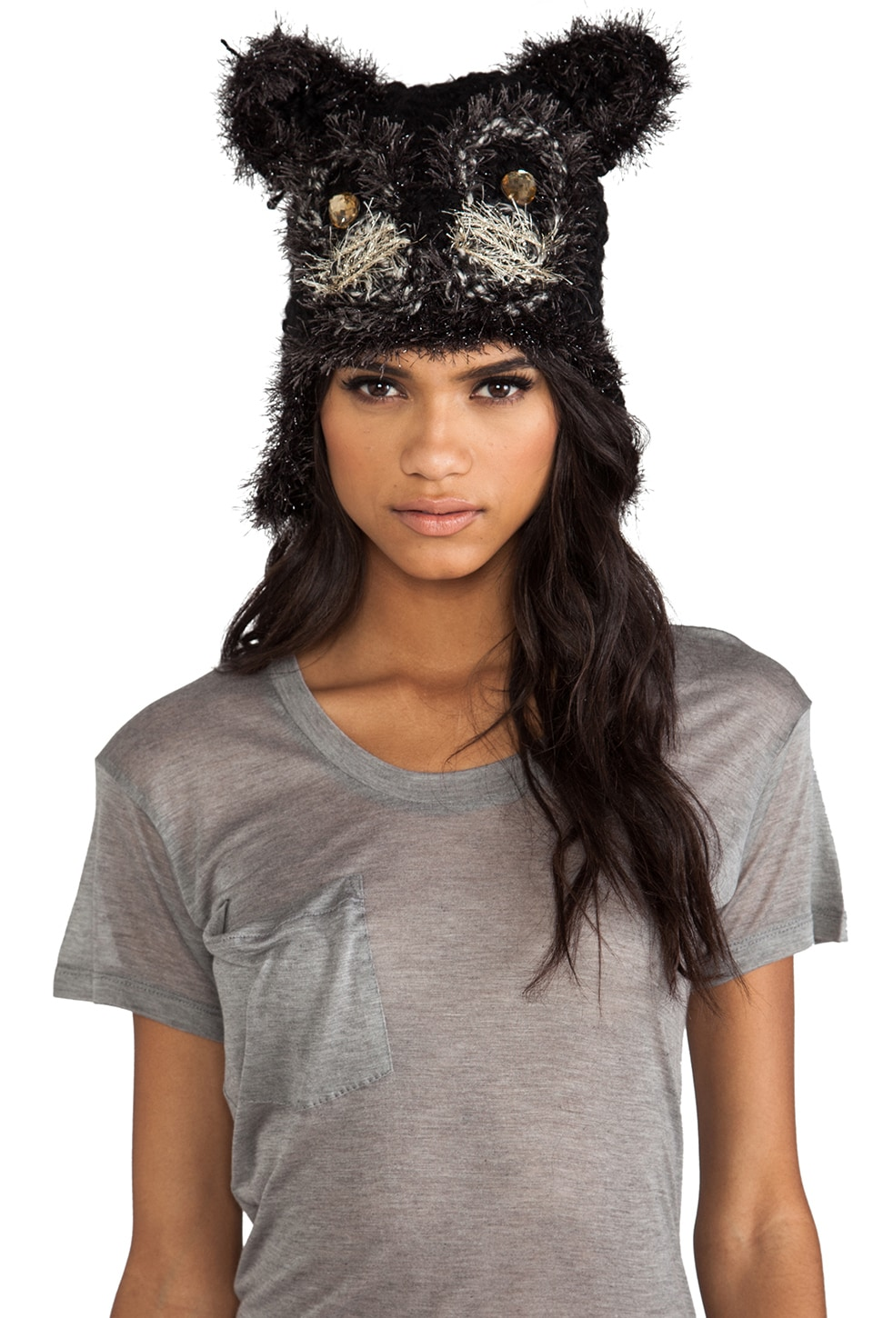 Anna Sui Jeweled Cat Hat in Black
