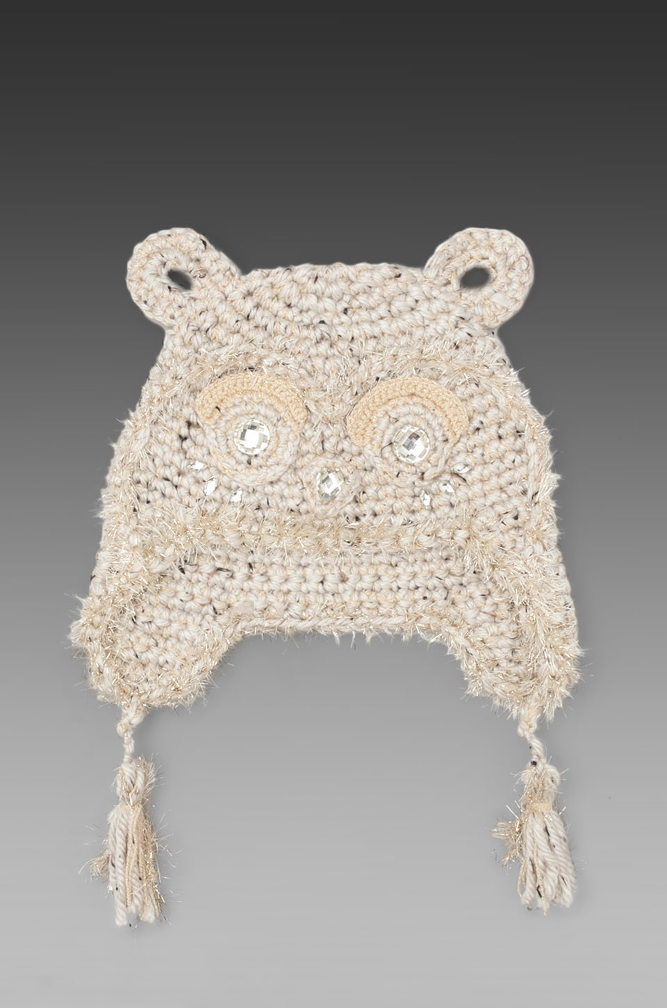 Anna Sui Jeweled Animal Accessories Hat in Cream Metallic