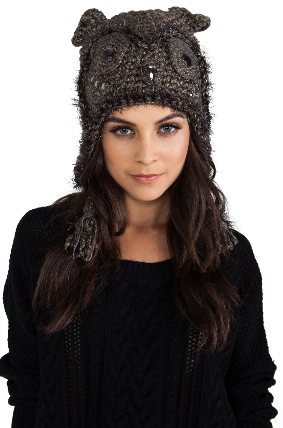 Anna Sui Jeweled Animal Accessories Hat in Light Brown Metallic