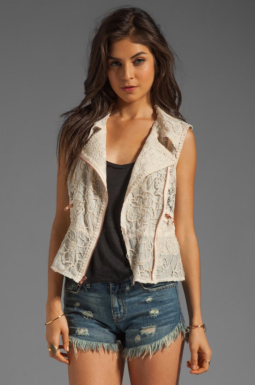 Anna Sui Mixed Lace Vest in Cream