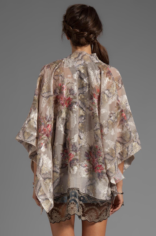Anna Sui Tulip Bouquet Floral Jacquard Kimono in Antique Ivory Multi