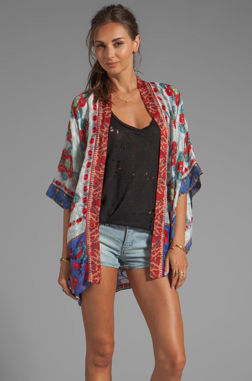 Anna Sui Daisy Chain Scarf Print Jacquard Kimono in Cornflower Multi