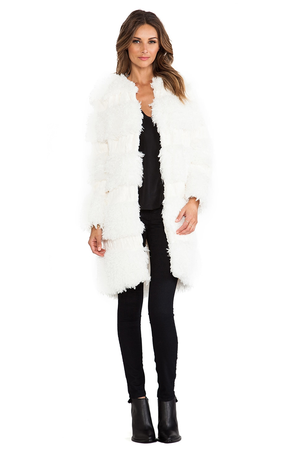 Anna Sui RUNWAY Mongolian Faux Fur Coat in Cream