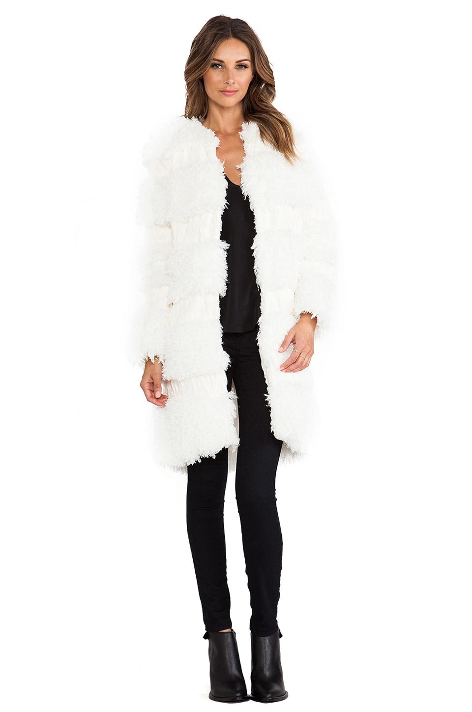 Anna Sui RUNWAY Mongolian Faux Fur Coat in Cream