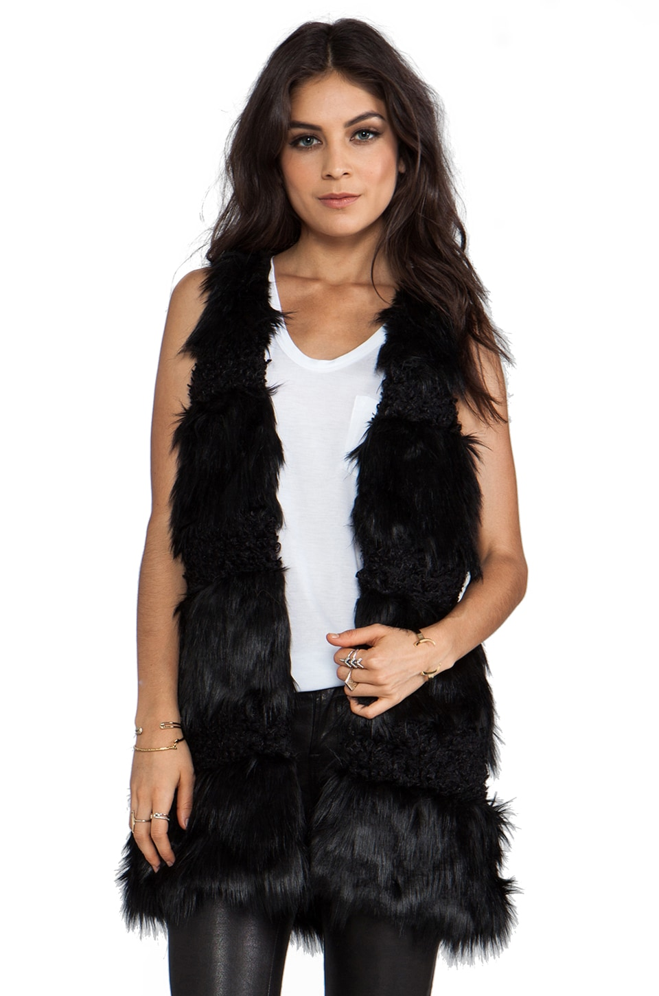 Anna Sui RUNWAY Faux Fur Combo Vest in Black