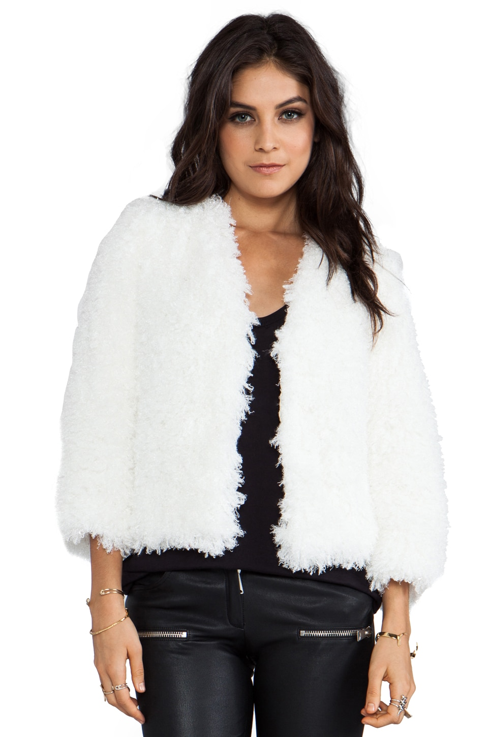 Anna Sui RUNWAY Mongolian Faux Fur Jacket in Cream