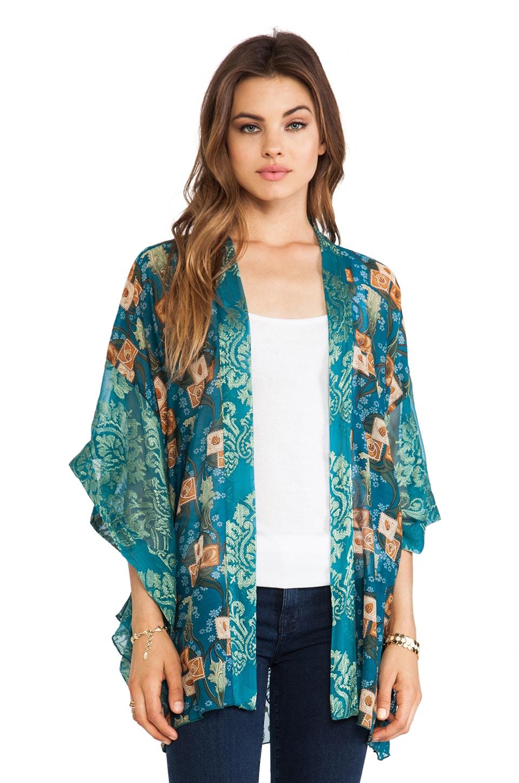 Anna Sui Windermere Print Kimono in Teal Multi