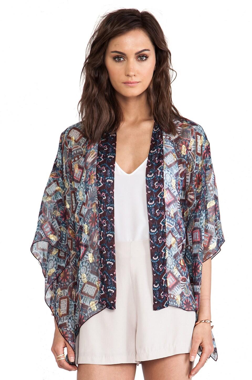 Anna Sui Warp Print Kimono in Aubergine Multi