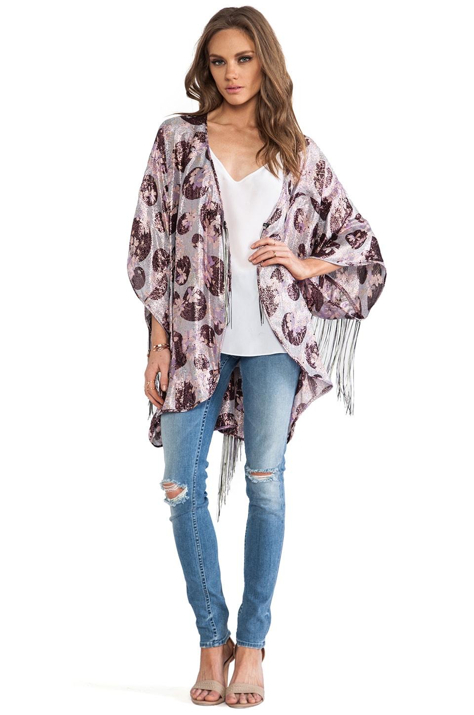 Anna Sui Moonlight Floral Print Kimono in Sky Multi