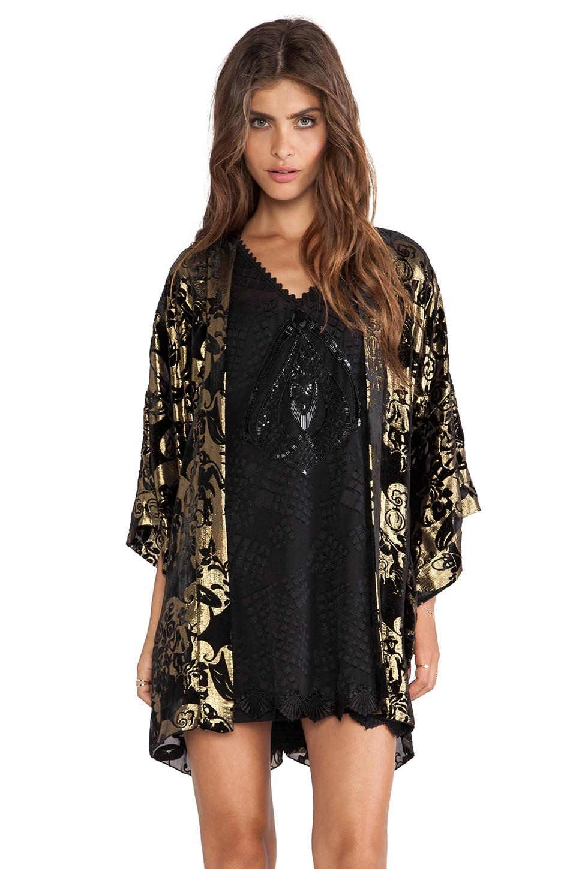 Anna Sui Village Burnout Velvet Kimono in Black Multi