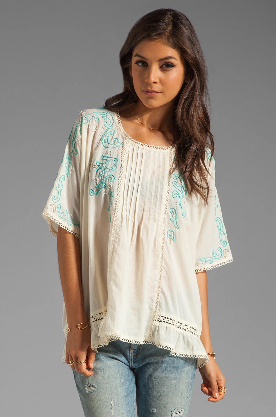 Anna Sui Seed Beads On Voile Top in Cream