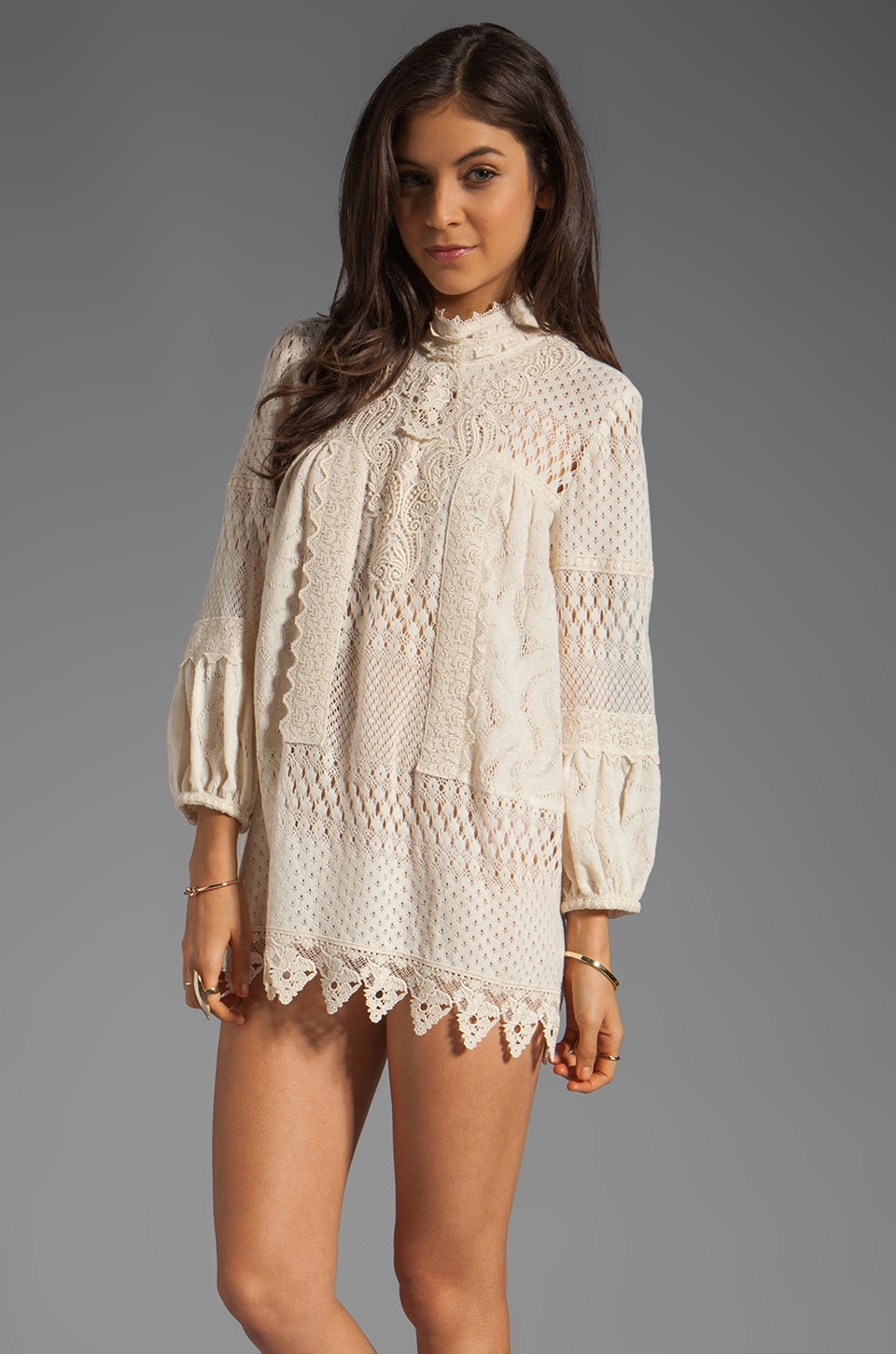 Anna Sui Pinwheel Mixed Lace Tunic in Cream