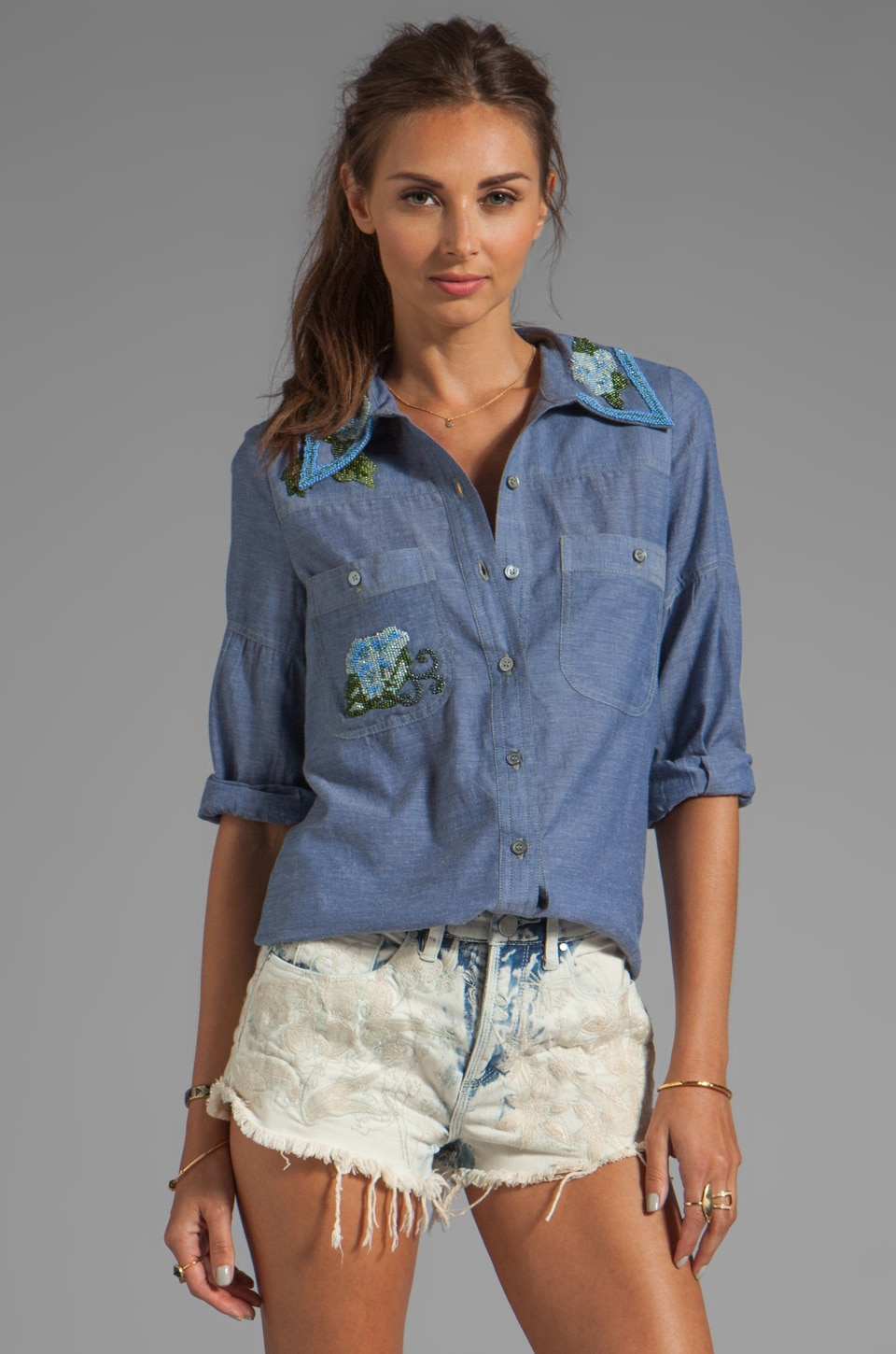 Anna Sui Embellished Chambray Top in Indigo Multi