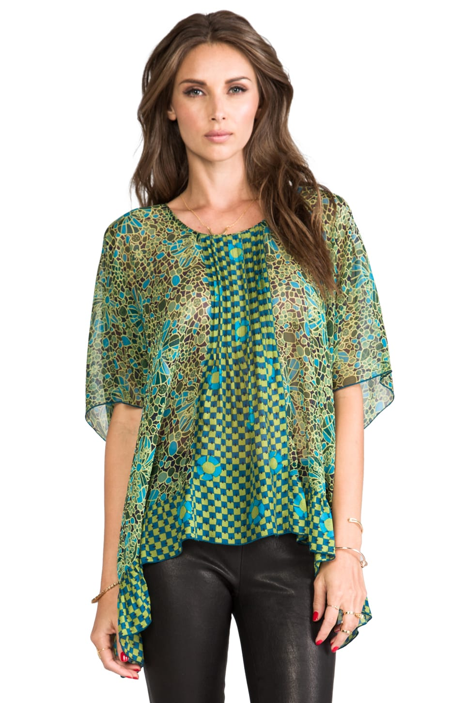 Anna Sui Pop Squares Printe Mesh and Mosaic Flora Print Crinkle Chiffon Top in Cerulean