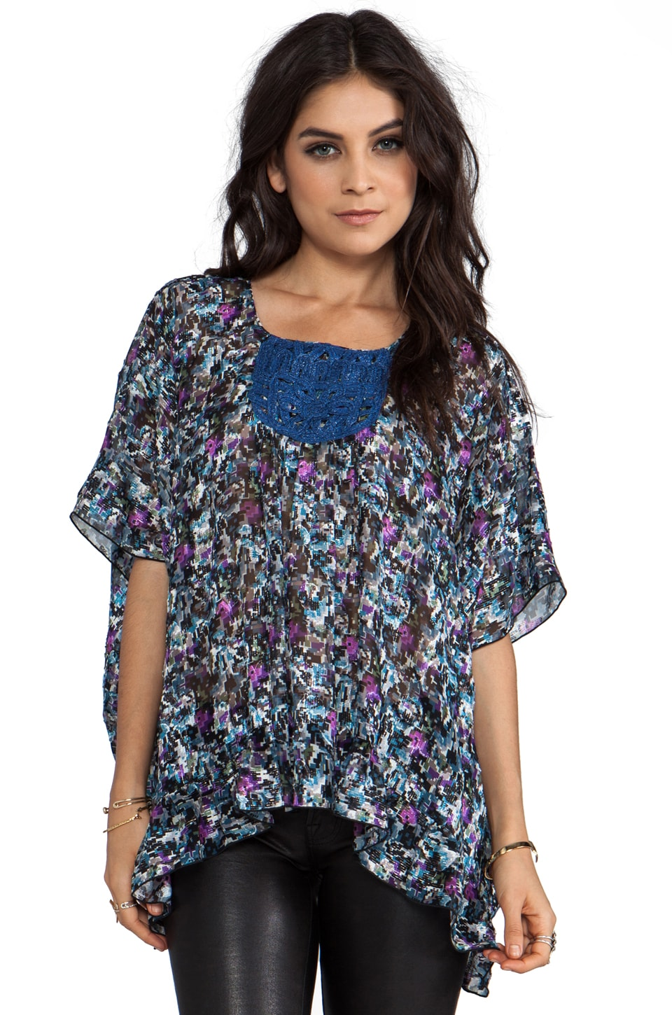 Anna Sui Digital Rose Print Floral Jacquard Top in Slate Blue Mutli