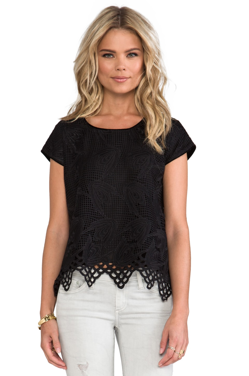 Anna Sui Lily Lace With Velvet Top in Black