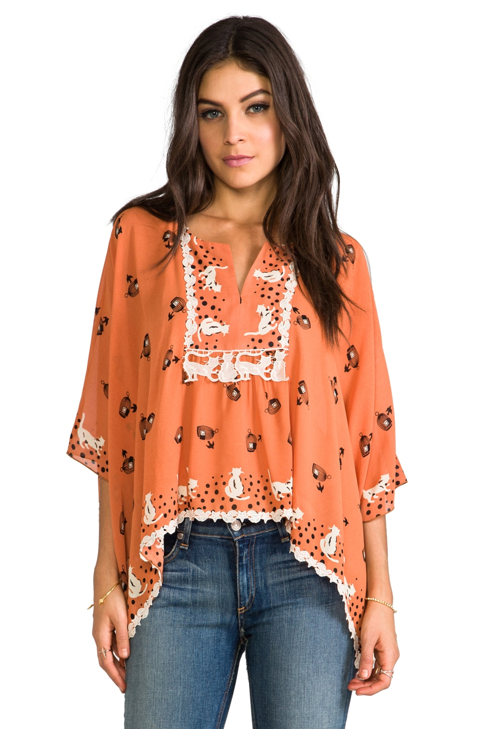Anna Sui Cat and Birdcage Blouse in Coral Multi