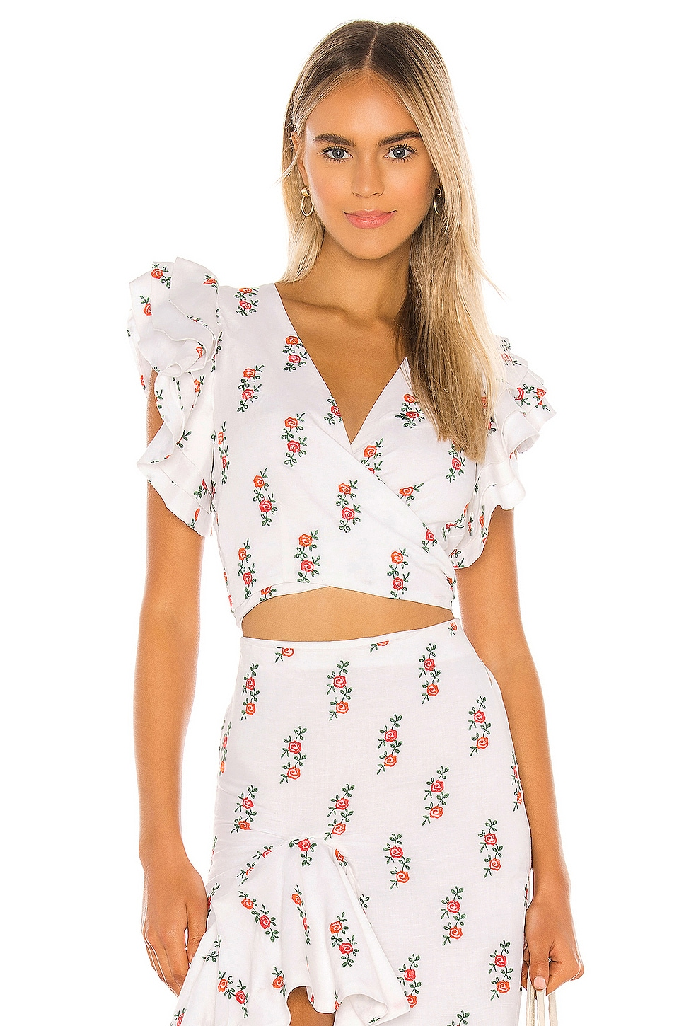 All Things Mochi Viola Blouse in White Red